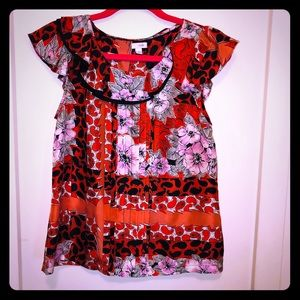 Odille anthropologie blouse with a beautiful print